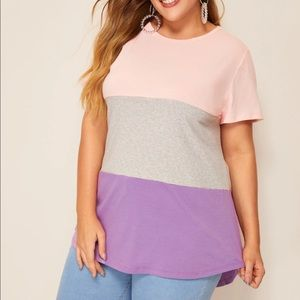 Pink and purple stripe tee